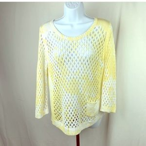 Zenergy By Chico's Sweater Size 1 Yellow White